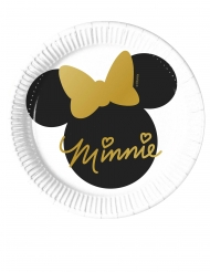 8 Piatti piccoli in cartone Minnie Gold™ 20 cm