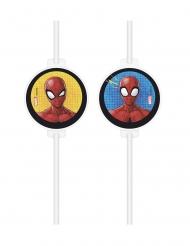 4 Cannucce con medaglione in cartone Spiderman™