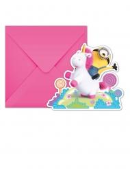 6 Inviti con busta Minions Unicorno™