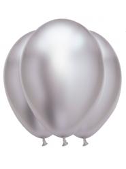 6 Palloncini in lattice argento satinato