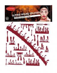 Trucco Halloween: macchie di sangue con paillettes