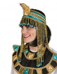 Copricapo regina egiziana blu e oro per adulto