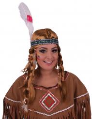 Parrucca e copricapo da indiana per adulto