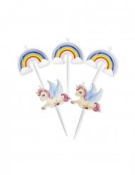 5 candele su stuzzicadenti unicorno arcobaleno 8 cm