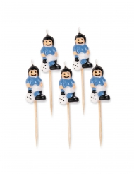 5 candele su stuzzicadenti giocatori di calcio azzurri 8 cm