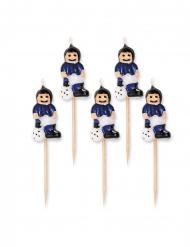 5 Candele su stuzzicadenti giocatori di calcio blu e neri 8 cm