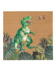 16 tovaglioli in carta dinosauro verde 33 cm