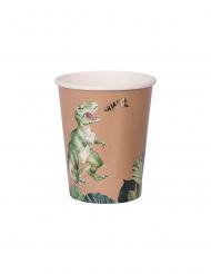 8 Bicchieri in cartone dinosauro verde e dorato 250 ml
