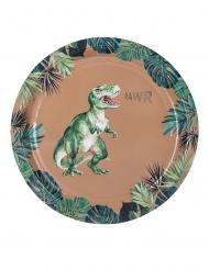 8 Piatti in cartone dinosauro verde e dorato 23 cm