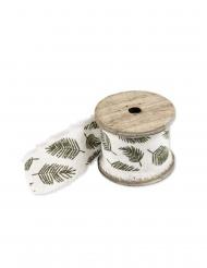 Nastro in lino con foglie tropicali 4.5 cm x 3 m