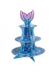 Espositore per cupcake sirena blu e viola 40 cm