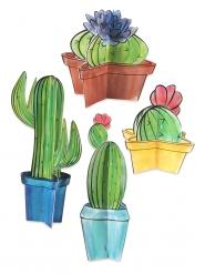 4 Centro tavola in cartone Cactus 3d 10 - 28 cm