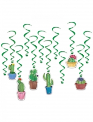 12 decorazioni a spirale da appendere cactus verde 43 - 83 cm