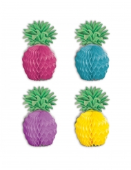 8 Mini centro tavola in carta ananas multicolore 12 cm