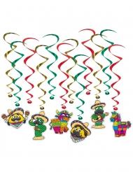 12 decorazioni a spirale da appendere festa messicana