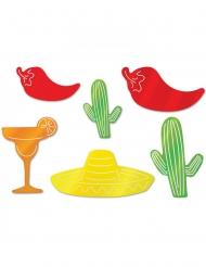 6 Decorazioni in cartone festa messicana