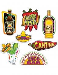 7 Ritagli in cartone festa messicana 22 - 40 cm