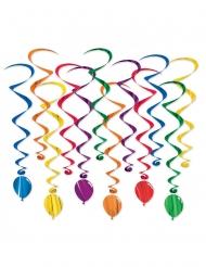 12 Decorazioni a spirale da appendere multicolore 43 - 86 cm
