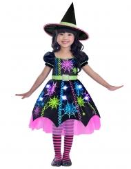 Costume strega multicolore con ragnatele bambina