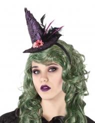 Cerchietto con cappello da strega viola per adulto