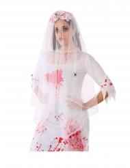 Cerchietto con velo insanguinato e rose bianche adulto