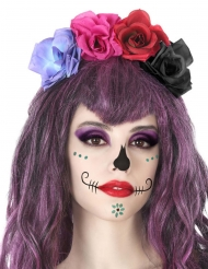 Cerchietto con fiori multicolore Dia de los Muertos adulto