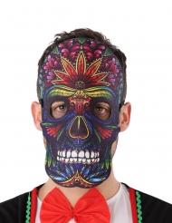 Maschera teschio nero Dia de los Muertos adulto
