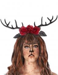 Cerchietto con corna da cervo e rose rosse adulto