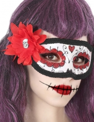 Maschera fiori rossi Dia de los Muertos adulto