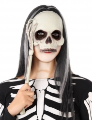 Maschera con asta scheletro per adulto