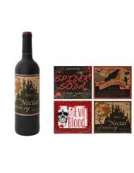 4 Etichette adesive per bottiglie Halloween