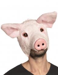 Maschera da maiale con pelo per adulto