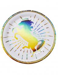 6 Piatti in cartone unicorno olografico 23 cm