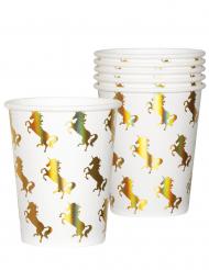 6 Bicchieri in cartone unicorno olografico 250 ml