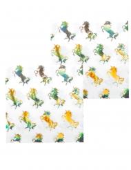 12 Tovaglioli in carta Unicorno Olografico