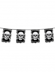 Ghirlanda 10 bandierine in plastica pirata Jolly Roger