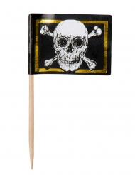 24 pics in legno con bandiera pirata Jolly Roger