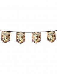 Ghirlanda 11 gagliardetti in cartone steampunk