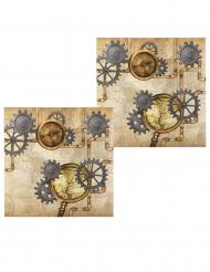 12 Tovaglioli in carta steampunk