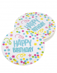 6 Sottobicchieri in cartone Happy Birthday coriandoli