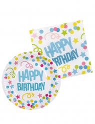 Kit stoviglie usa e getta a tema Coriandoli Happy Birthday