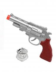 Pistola grigia e distintivo