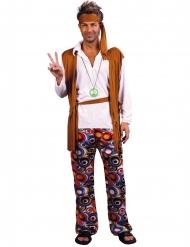 Costume da hippie taglie forti uomo bianco e marrone