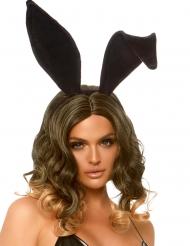 Cerchietto con orecchie da coniglio nere per adulto