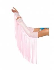 Manicotti a frange rosa pallido adulto