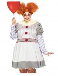 Costume lusso clown terrificante grandi taglie donna