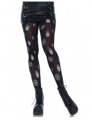 Calze nere opache simboli mistici donna