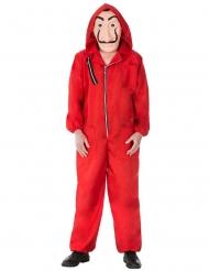Costume e maschera da rapinatore in rosso adulto