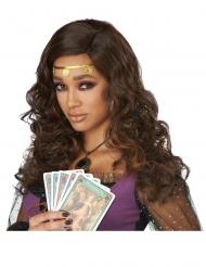 Parrucca lusso con boccoli bruni per donna