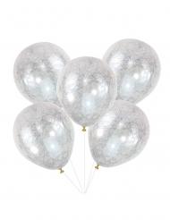 5 Palloncini in lattice trasparenti e argentati